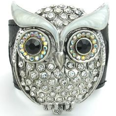 """Crystal Owl Leather Bracelet Wide-(White/Black/Silver)-Womens  Color: White/Black and Silver.  Width: 64 mm (2.5"""") and Length: 8"""" (20.3cm).  Material: Alloy/Leather  Please review shipping charges and details."""