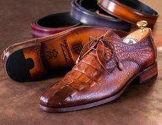 Paul Parkman Light Brown Crocodile Embossed Calfskin Derby Shoes (ID Mens Dress Outfits, Men Dress, Hot Shoes, Men's Shoes, Shoes Men, Simple Shoes, Casual Shoes, Men Casual, Mens Fashion Shoes