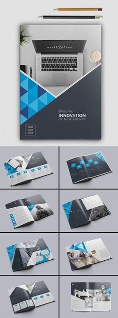 Square bi-fold Brochure template and Brochures - technology brochure template