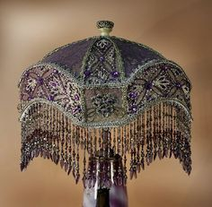 TRACY shaped shade, all purple vintage silks with silver metallic and beaded laces
