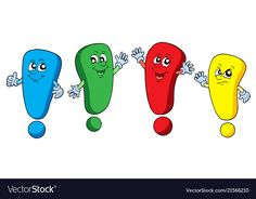 Various color exclamations vector image on VectorStock