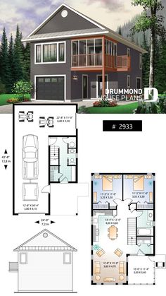 Garage with apartment, 2 bedrooms, open floor plan, screened-in balcony Carriage House Plans, Barn House Plans, Dream House Plans, Cabin Plans, Small House Plans, House Floor Plans, Dream Houses, House Plans With Garage, Garage With Living Quarters