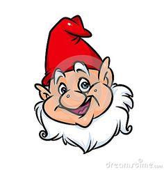 Portrait gnome red cap cartoon illustration   image character