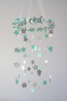 Aqua, White & Gray Nursery Star Mobile. They're charging $65 for this. It could be made for much cheaper...