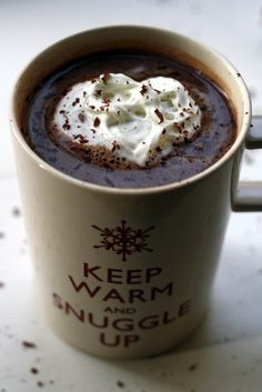 WHERE has this been all my life>>> Salted caramel vodka hot chocolate -- AND i love that mug.