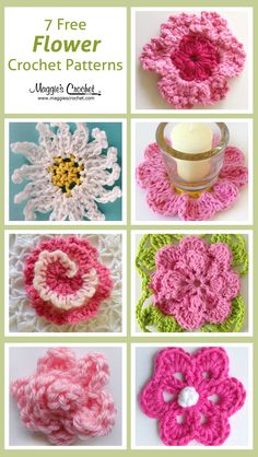 Seven Free Flower Crochet Patterns from Maggie's Crochet.