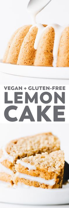 Lemon Yogurt Bundt Cake (Vegan + Gluten-Free) Gluten Free Lemon Cake, Vegan Lemon Cake, Gluten Free Cakes, Vegan Cake, Gluten Free Baking, Vegan Baking, Gluten Free Desserts, Vegan Gluten Free, Gluten Free Recipes