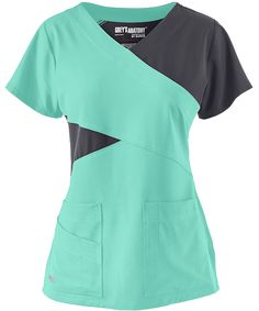 If I ever needed to wear scrubs to work. Shown In Opal w/ Graphite Grey's Anatomy Scrubs Signature STRETCH Color Block Top Small Scrubs Outfit, Scrubs Uniform, Nurse Hairstyles, Cute Scrubs, Medical Scrubs, Nursing Scrubs, Nursing Accessories, Greys Anatomy Scrubs, 4 Way Stretch Fabric