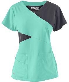 Shown In Opal w/ Graphite Grey's Anatomy Scrubs Signature STRETCH Color Block Top Small