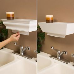 Beautiful Wall Mounted Shelf Paper Towel Dispenser | Http://www.apartmenttherapy.com