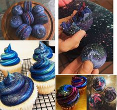 Galaxy Cupcakes, Galaxy Cake, Food Galaxy, Sweet 16 Birthday, 16th Birthday, Birthday Parties, Starry Night Wedding, Galaxy Theme, Prom Themes