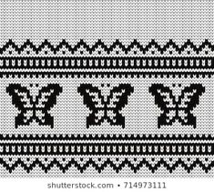 Knitted seamless border butterflies Knitting Stitches, Hand Knitting, C2c, Stock Foto, Cross Stitch, Butterfly, Tapestry, Rugs, Illustration