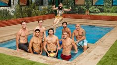 Paul Abrahamian cannonballs into a pool pic with his fellow male Houseguests.