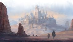 Desert City by jjpeabody desert castle city landscape location environment architecture | Create your own roleplaying game material w/ RPG Bard: www.rpgbard.com | Writing inspiration for Dungeons and Dragons DND D&D Pathfinder PFRPG Warhammer 40k Star Wars Shadowrun Call of Cthulhu Lord of the Rings LoTR + d20 fantasy science fiction scifi horror design | Not Trusty Sword art: click artwork for source