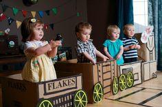 "Train theme bday. Cute cardboard box train!! @Suzanne, with a ""z"". Pyburn Suzanne Wilson Pyburn"