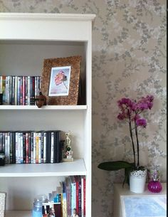 Laura ashley wallpaper Laura Ashley Interiors, Office Ideas, Bookcase, Room Ideas, Shelves, Living Room, Wallpaper, Life, Home Decor