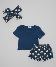 Just Couture Navy & Gold Dots Tee & Bubble Shorts Set - Infant