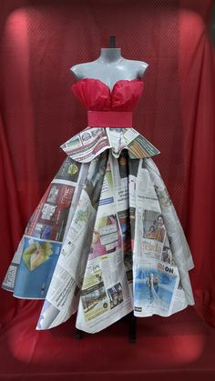 Vestido Jornal - turma guarulhos Recycled Costumes, Recycled Dress, Recycled Clothing, Recycled Cans, Paper Fashion, Diy Fashion, Fashion Dresses, Fashion Design, Dress Card