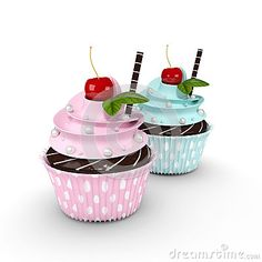 Two 3d cupcakes with pearl sweets and cherry isolated on white background