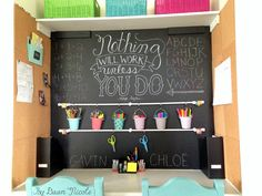 DIY Homework Command Center. Turn a nook into an organized family homework, art and command center in just a few days!