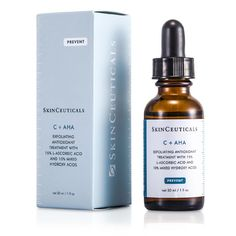 Skin Ceuticals C+AHA Exfoliating Antioxidant Treatment Skincare.  A unique 2-in-1 skincare to combat aging skin both inside & out 15% concentration of pure L-ascorbic acid defense skin against UV rays And stimulate collagen production inside 10% concentration of hydroxyl acids exfoliate surface skin Makes skin smooth for a more youthful appearance Infused with glycolic acid & lactic acid to lift away rough outer skin layer Leaves you a newer, younger-looking skin