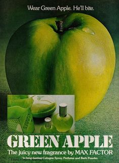 1974 ad for Max Factor Green Apple fragrance ♥ This was my favorite perfume in Junior High. Retro Ads, Vintage Advertisements, Vintage Ads, Retro Advertising, Vintage Stuff, Max Factor, Beauty Ad, Beauty Products, Cologne Spray