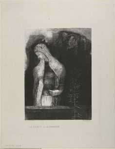 Odilon Redon - Female Saint and Thistle, 1891, Lithograph   The Art Institute of Chicago