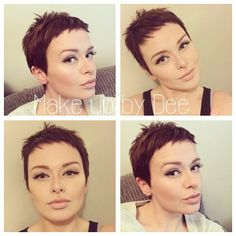 """How to style the Pixie cut? Despite what we think of short cuts , it is possible to play with his hair and to style his Pixie cut as he pleases. For a hairstyle with a """"so chic"""" and pointed… Continue Reading → Short Pixie Haircuts, Short Hair Cuts, Best Pixie Cuts, Super Short Hair, Super Short Pixie Cuts, Long Pixie, Pixies, Hair Trends, Hair Inspiration"""