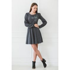 Grey Dress Snowflake Dress Winter Dress Knitted Dress Warm Wool Dress... ($95) ❤ liked on Polyvore featuring dresses, grey und women's clothing