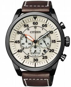 Citizen is a chronograph watch that comes with a black PVD case, a cream dial, and it is powered by a Citizen Eco-Drive movement. Citizen Eco, Citizen Band, Citizen Watches, Drive In, Amazing Watches, Cool Watches, Herren Chronograph, Timex Watches, Men's Watches