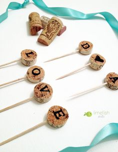 Wine Cork Cupcake Toppers / Custom Initials / Vineyard Wedding Ideas / Wine Party Decor / By LIMEFISHSHOP on Etsy