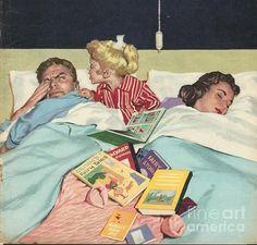 z- Sleep vs Reading- 'John Bull', (Watermarked) Vintage Pictures, Vintage Images, Retro Vintage, Norman Rockwell Art, Girl Reading Book, Vintage Housewife, Arte Pop, Vintage Children, Belle Photo