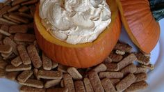 This is a very creamy and yummy vanilla pumpkin dip that is served with graham crackers.  I like the cinnamon graham crackers best, but you can decide for yourself.