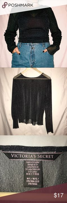 VICTORIA s SECRET LONG SLEEVE SPARKLY MESH TOP Size  Large Model is 5 4  Message 4b6f9e7f12c9