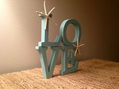 Love - Wood Letters- Beach Decor - Starfish
