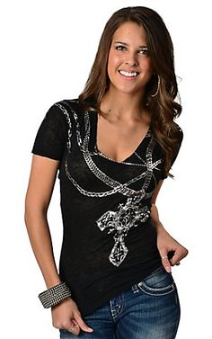 $39.97 Affliction® Ladies Black w/ Silver Foil Chains & Cross V-Neck Short Sleeve Burnout Tee | Cavender's Boot City
