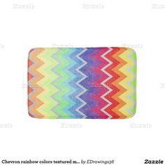 Chevron rainbow colors textured multicolor design bath mats