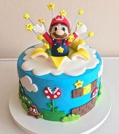 Mario Birthday Cake, Toddler Birthday Cakes, Super Mario Birthday, 8th Birthday, Luigi Cake, Mario Bros Cake, Mario Kart Cake, Bolo Do Mario, Bolo Super Mario