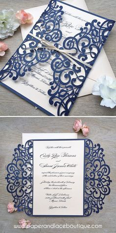 Navy and Blush Laser Cut Wedding Invitation - Glittering Navy Laser Cut Gatefold invite with Blush Pink/Pale Peach Insert and Ribbon