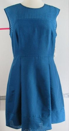 8de28836c74ca J Crew Dress Size 10 Teal Cotton Silk Blend Geometric cut out pattern  Sleeveless  JCREW