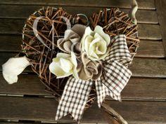 Heart in woven rattan.