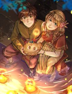 """kadeart:  """" Hiccup & Astrid in Loy Kratong Festival ^_^ (with traditional Thai costume)  """""""