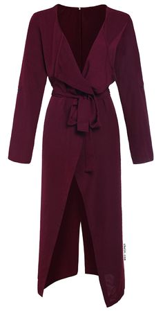 Burgundy Lapel Rolled Up Sleeve Split Long Outerwear