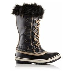 Joan of Arctic Safari Boot - Black ($200) ❤ liked on Polyvore featuring shoes, boots, black waterproof boots, waterproof shoes, leopard print fur boots, black fur boots and black leopard shoes