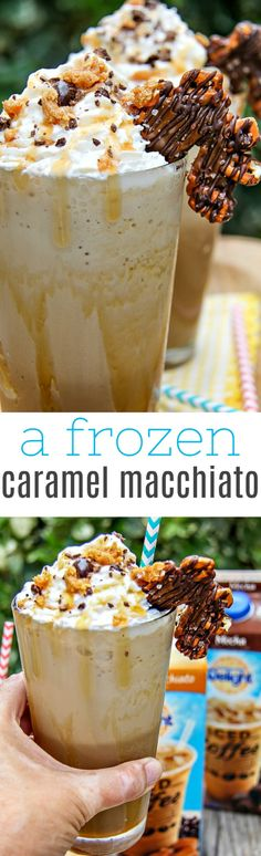 This epic frozen caramel macchiato topped with crushed dark chocolate coated coffee beans, and soft caramel is the perfect summer drink. @Walmart #FoundMyDelight AD