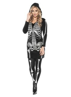 Skelett Kapuzenkleid Kostüm #halloween #dress #black #white