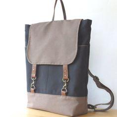 ChocoBrown & GreyNavy Backpack. Kind of love this...