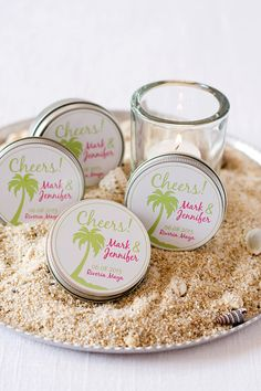 Creative Beach Wedding Ideas for a Romantic Beach Destination Wedding, beach wedding favors Beach Wedding Gifts, Destination Wedding Favors, Tea Wedding Favors, Beach Wedding Bridesmaids, Winter Wedding Favors, Unique Wedding Favors, Wedding Ideas, Wedding Decor, Wedding 2015