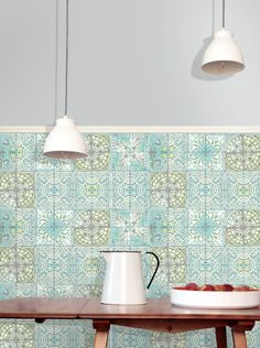 Louise Body, Paper Tiles wallpaper, Patchwork Jade: This Tile wallpaper collection combines photographic Trompe L'oile, with intricate drawings to create the impression of real tiles but with a personal touch. Printed onto a robust, coated paper they can be used in kitchens and bathrooms but we don't recommend them to be used if regularly in contact with water.