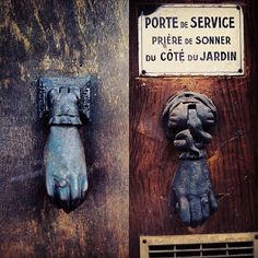 .@ruggedandfancy I have so many of these images of antique door knockers shaped like hands. The adornment on the hand or cuff indicated the profession and/or stature of the inhabitant. #hands #france #doors